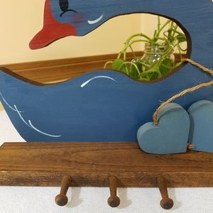 Hand Crafted Wall Art - Vintage Wood Goose Shelf with Hooks
